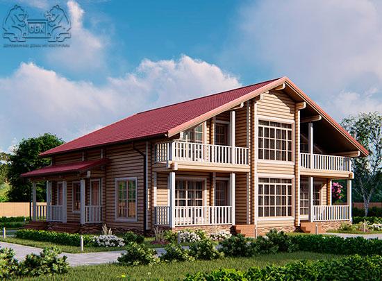 Проект дома из бруса в чашу 12 х 11,5 м «Семейный» (обложка)
