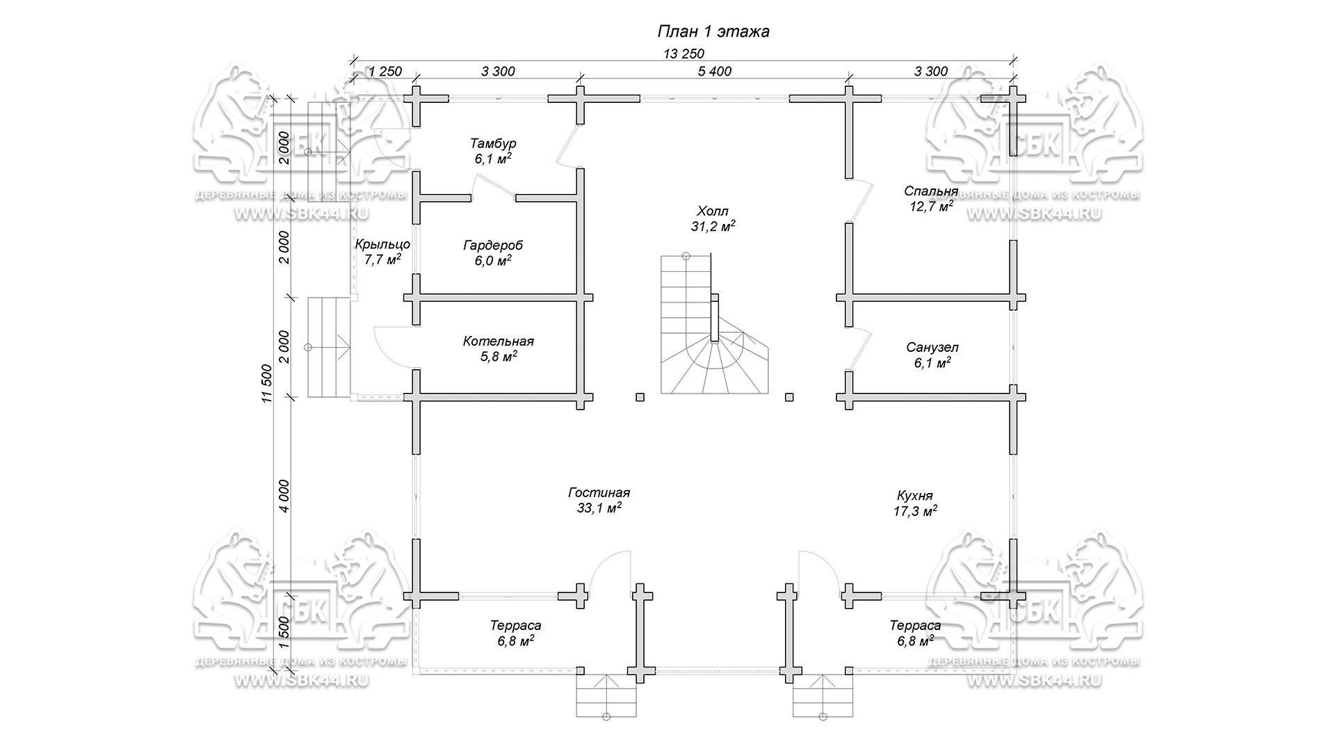 Проект дома из бруса в чашу 12 х 11,5 м «Семейный» - план 1-го этажа