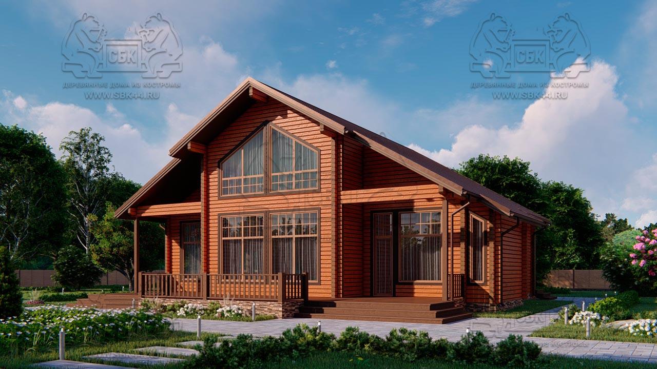 Проект дома из бруса в чашу 16 х 16 м «Гудвин» - со вторым светом (2)