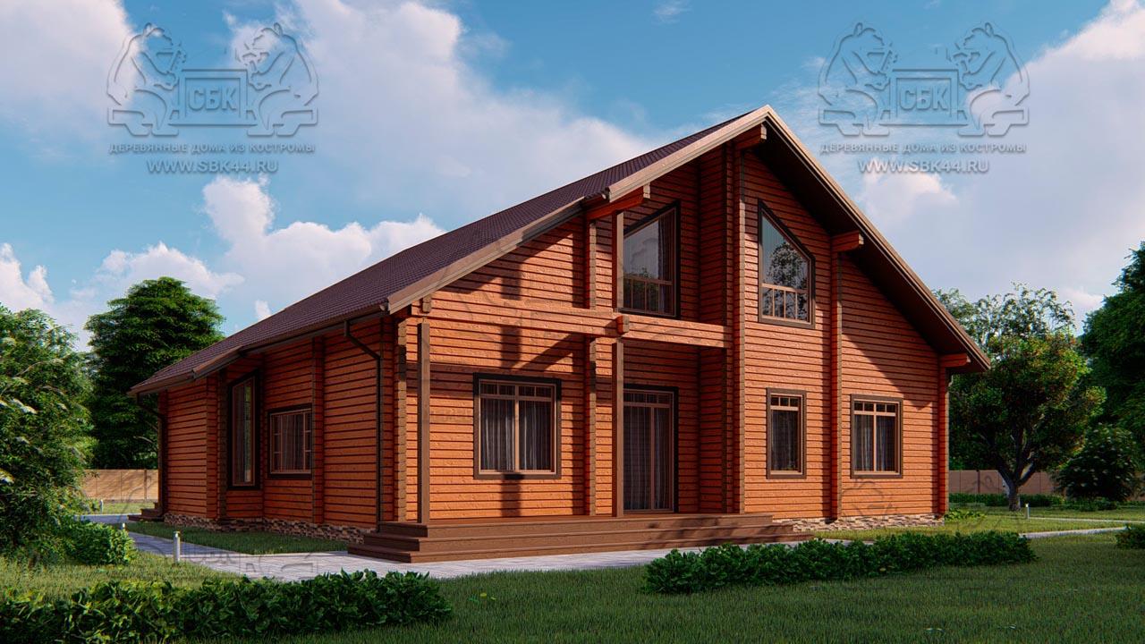 Проект дома из бруса в чашу 16 х 16 м «Гудвин» - со вторым светом (3)