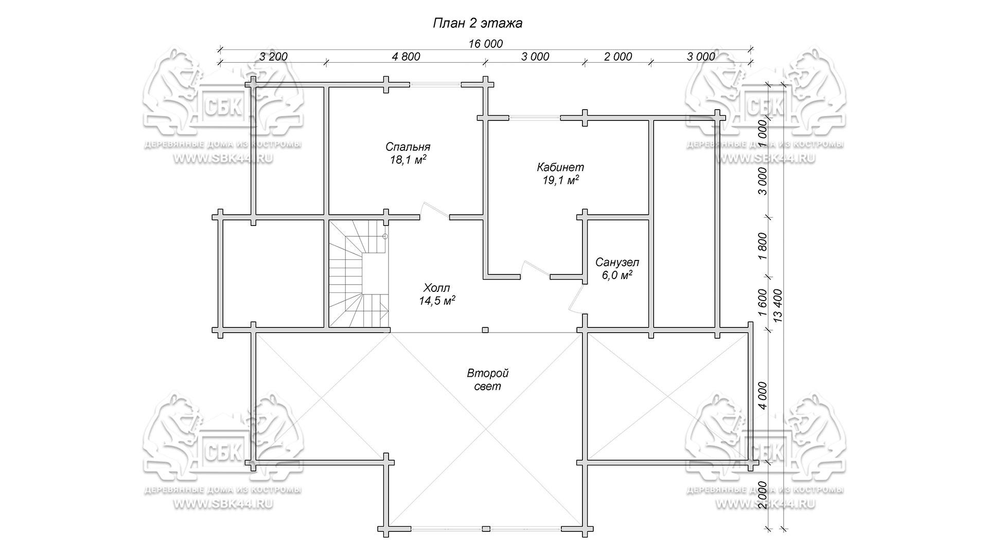 Проект дома из бруса в чашу 16 х 16 м «Гудвин» - со вторым светом - план 2-го этажа