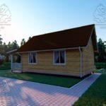 Проект одноэтажного дома из бруса 6 х 9 м «Смирновка» - с террасой фото (3)