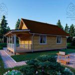 Проект одноэтажного дома из бруса 6 х 9 м «Смирновка» - с террасой фото (4)