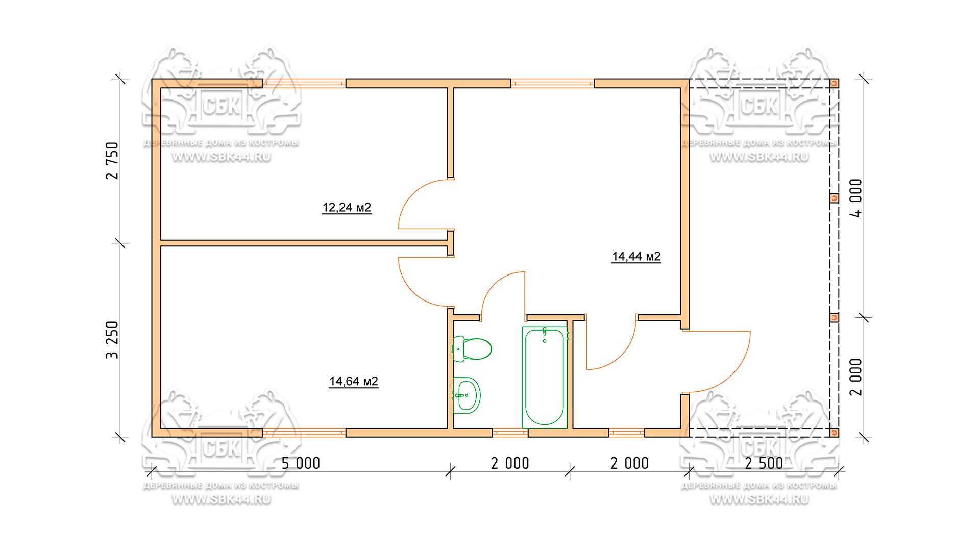 Проект одноэтажного дома из бруса 6 х 9 м «Смирновка» - с террасой план 1 - го этажа