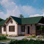 Проект одноэтажного дома из бруса в чашу 14,5 х 7,5 м «Кустово» - с террасой (1)