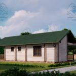 Проект одноэтажного дома из бруса в чашу 14,5 х 7,5 м «Кустово» - с террасой (3)