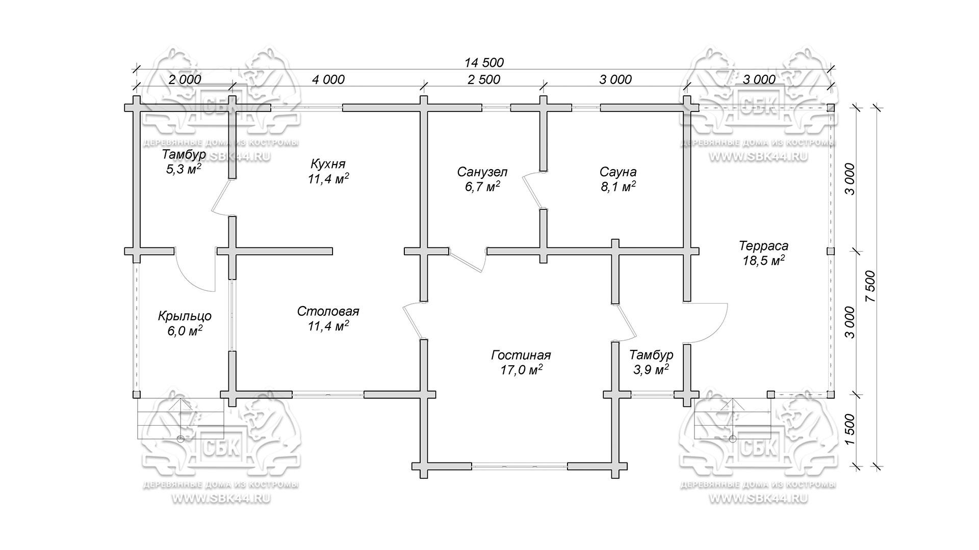 Проект одноэтажного дома из бруса в чашу 14,5 х 7,5 м «Кустово» - с террасой - план 1-го этажа