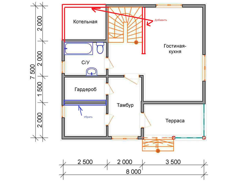 Дом из бруса - измененная планировка