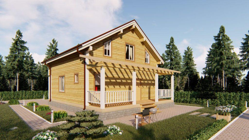 Проект дома из бруса 9 х 12 с террасой и эркером - СБК Кострома (фото 1)