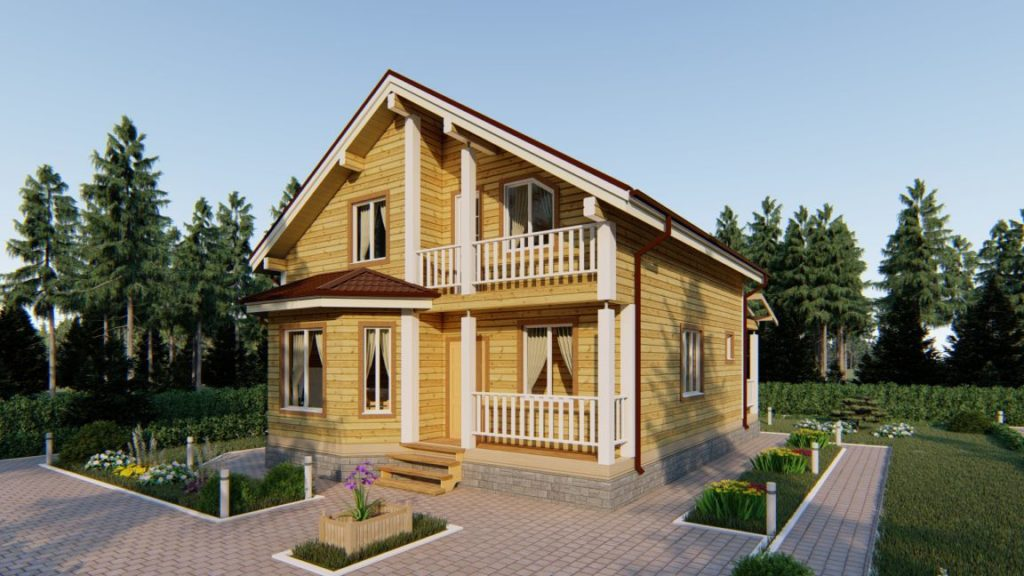 Проект дома из бруса 9 х 12 с террасой и эркером - СБК Кострома (фото 2)