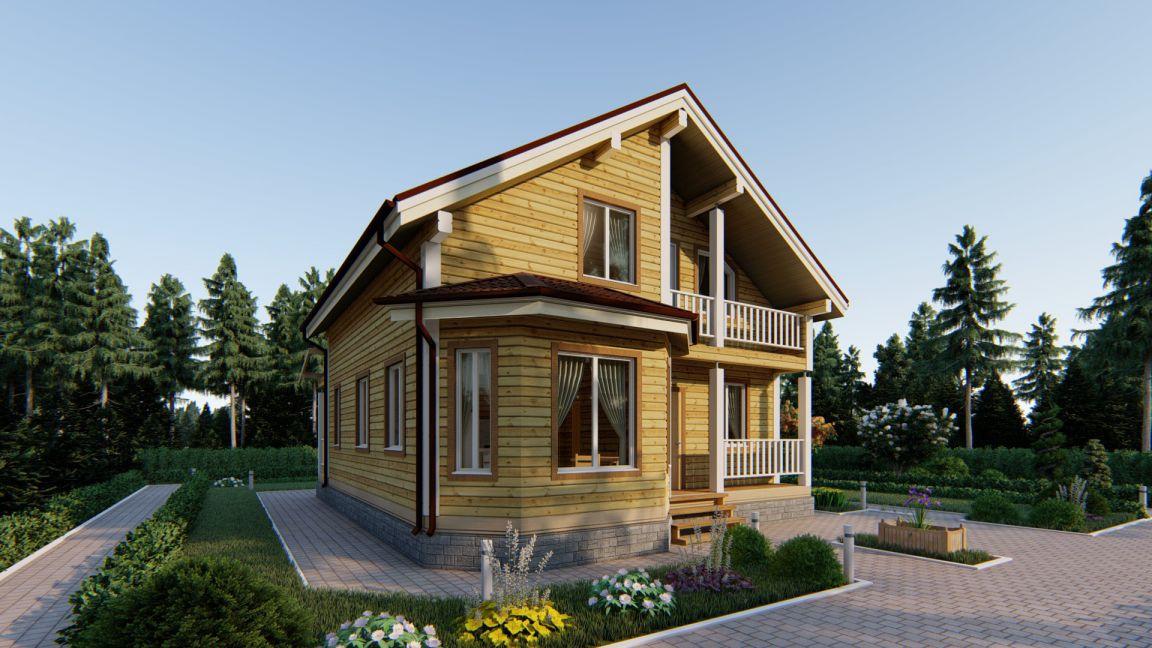 Проект дома из бруса 9 х 12 с террасой и эркером - СБК Кострома (фото 3)