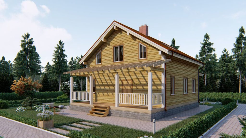 Проект дома из бруса 9 х 12 с террасой и эркером - СБК Кострома (фото 4)