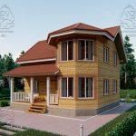 Проект дома из бруса 9 на 8 «Шуя» с эркером 1,5 этажа (1)