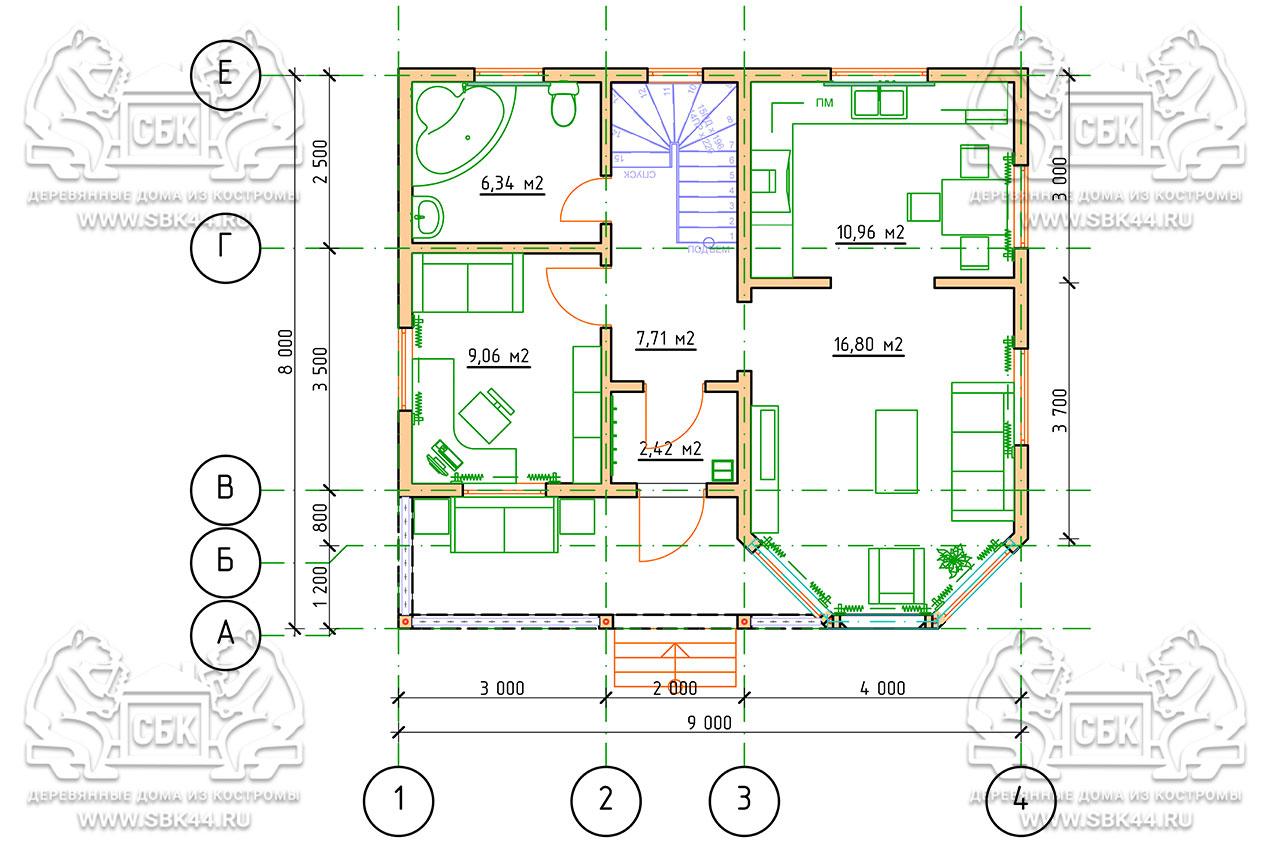 Проект дома из бруса 9 на 8 «Шуя» с эркером 1,5 этажа план 1