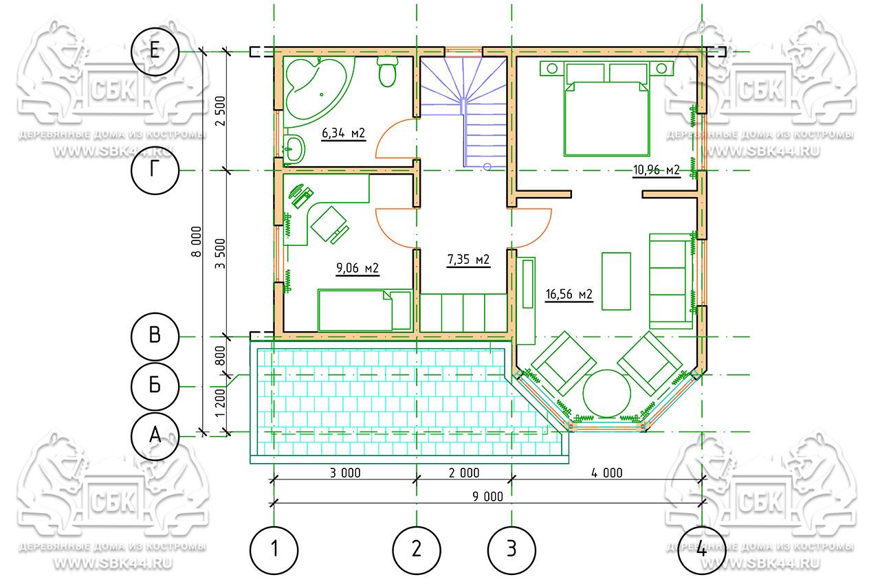 Проект дома из бруса 9 на 8 «Шуя» с эркером 1,5 этажа план 2