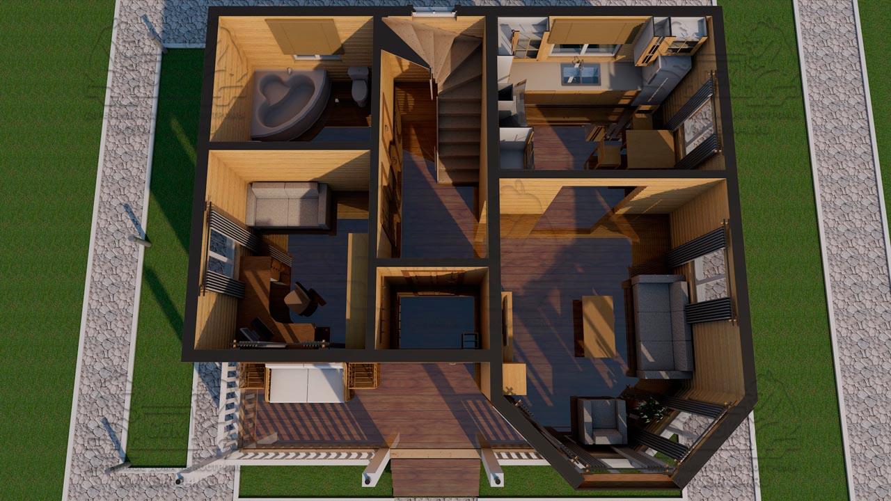 Проект дома из бруса 9 на 8 «Шуя» с эркером 1,5 этажа планировка 1