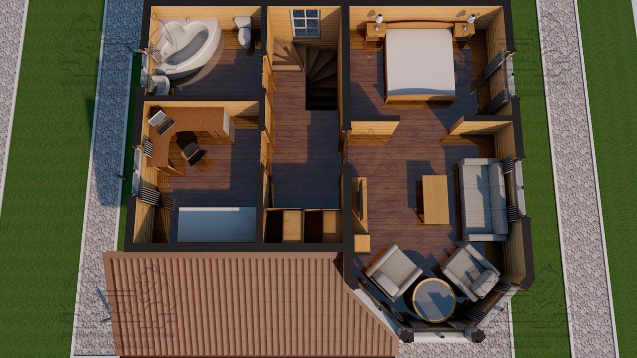 Проект дома из бруса 9 на 8 «Шуя» с эркером 1,5 этажа планировка 2