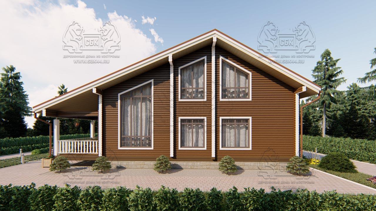Проект дома из бруса в чашу 10 на 15 «Раменское» с террасой (1)
