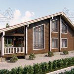 Проект дома из бруса в чашу 10 на 15 «Раменское» с террасой (2)