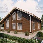 Проект дома из бруса в чашу 10 на 15 «Раменское» с террасой (3)