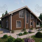 Проект дома из бруса в чашу 10 на 15 «Раменское» с террасой (4)
