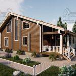Проект дома из бруса в чашу 10 на 15 «Раменское» с террасой (5)