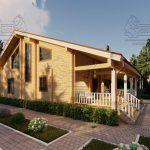 Проект дома из бруса в чашу 10 на 15 «Раменское» с террасой (6)