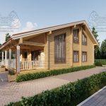 Проект дома из бруса в чашу 10 на 15 «Раменское» с террасой (7)