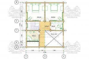 Проект дома из бруса в чашу 10 на 15 «Раменское» с террасой - План 2-го этажа