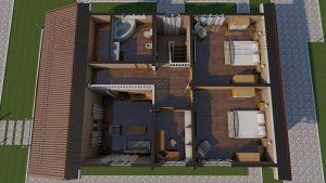 Проект дома из бруса в чашу 10 на 15 «Раменское» с террасой - Планировка 1-го этажа с мебелью