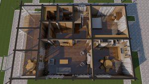 Проект дома из бруса в чашу 10 на 15 «Раменское» с террасой - Планировка 2-го этажа с мебелью