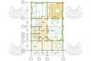Проект дома из бруса в чашу 10 на 15 «Раменское» с террасой - план 1-го этажа