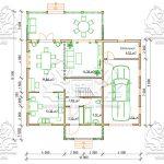 Проект двухэтажного дома из бруса 12 на 12 «Будихино» -План 1-го этажа