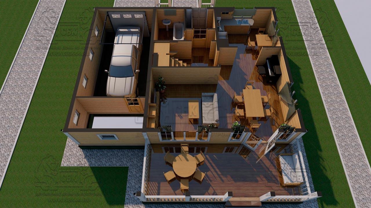 Проект двухэтажного дома из бруса 12 на 12 «Будихино» - планировка 1