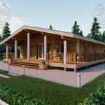 Проект одноэтажного дома из бруса 11 на 11 «Шале» (1)