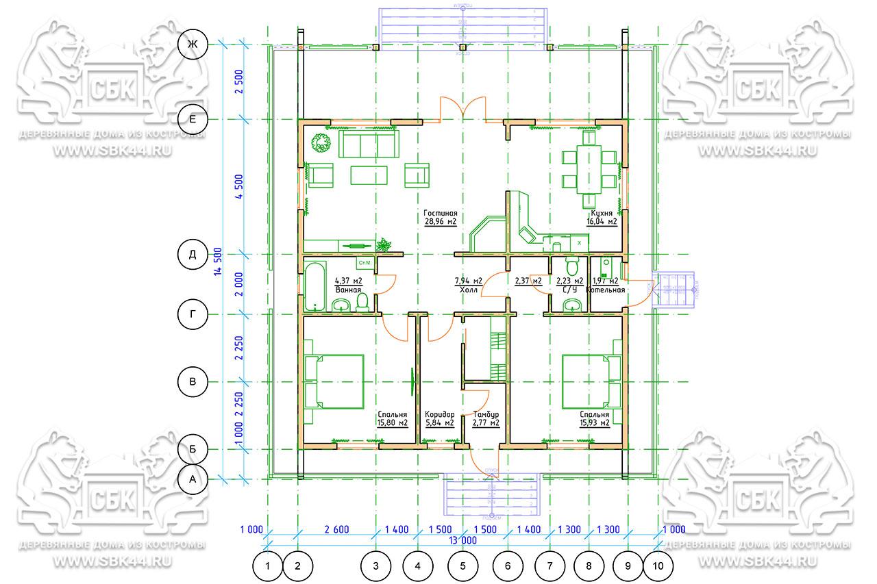 Проект-одноэтажного-дома-из-бруса-11-на-11-«Шале»-план-1-го-этажа000