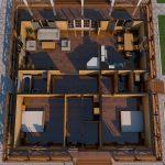 Проект одноэтажного дома из бруса 11 на 11 «Шале» планировка с мебелью