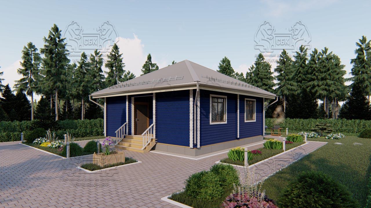 Проект одноэтажного дома из бруса в чашу «Зеленоград» (3)
