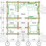 Проект одноэтажного дома из бруса в чашу «Зеленоград» План - 1го эт