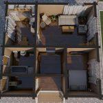 Проект одноэтажного дома из бруса в чашу «Зеленоград» планировка с мебелью