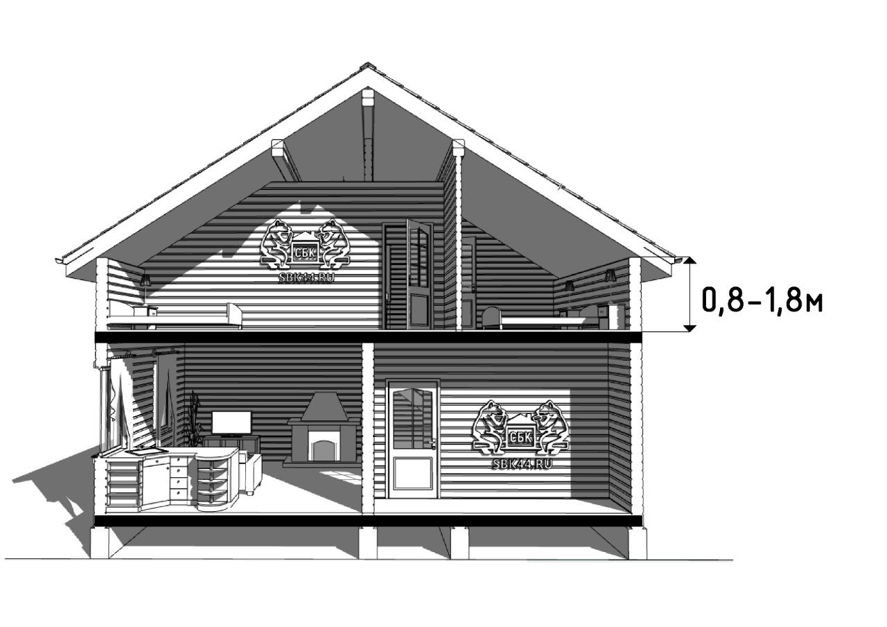 полутора этажные дома из бруса