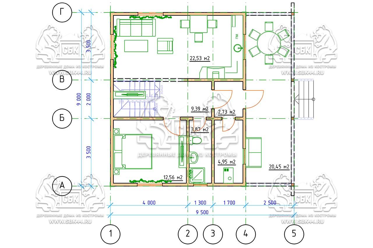 Дом из бруса 1.5 этажа - Владимировка - План-1-го-этажа