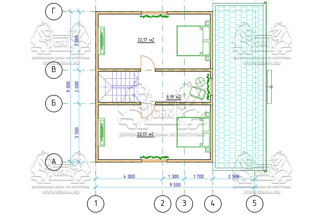 Дом из бруса 1.5 этажа - Владимировка - План-2-го-этажа