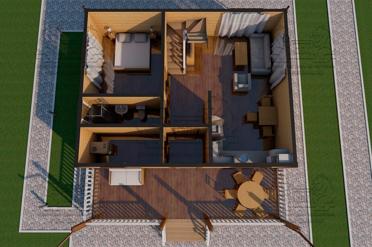 Дом из бруса 1.5 этажа - Владимировка - Визуализация с мебелью 1 этаж
