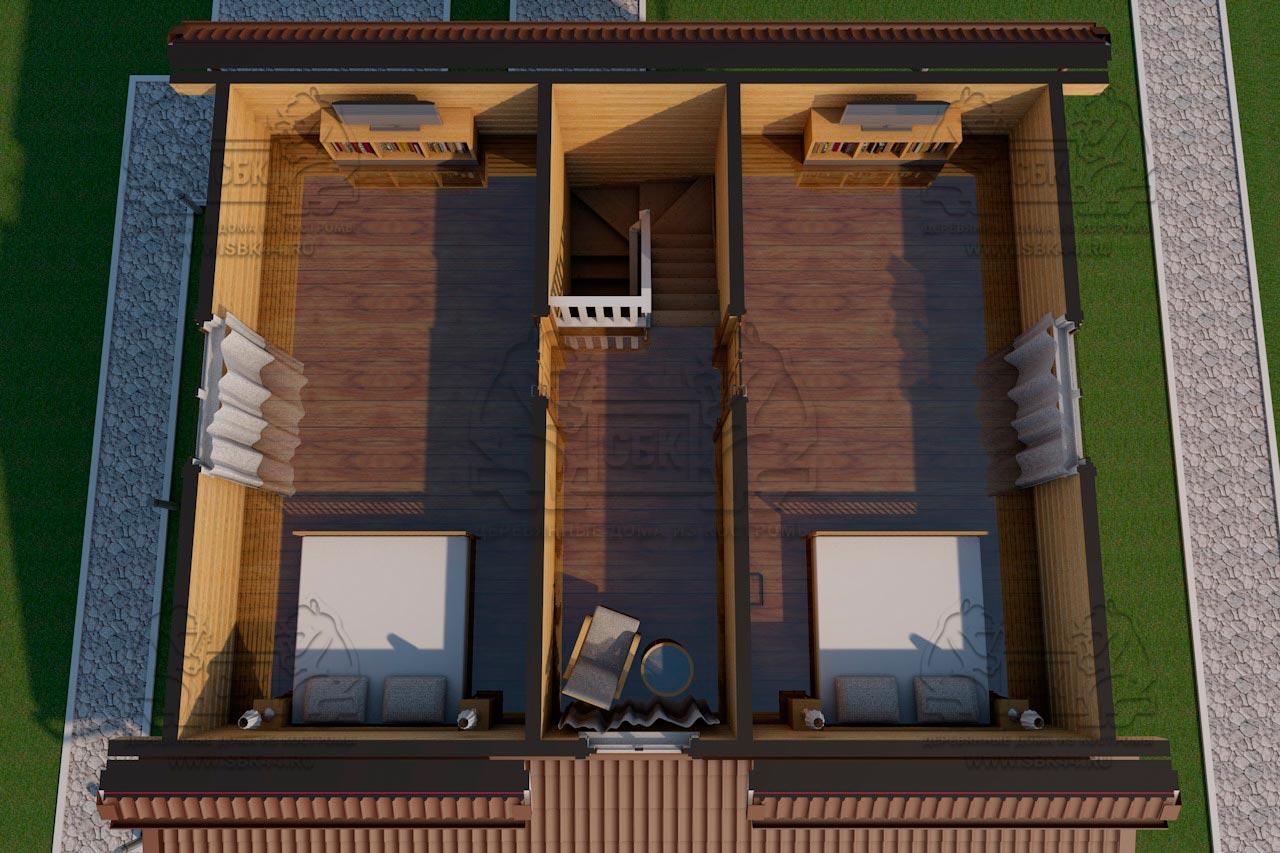 Дом из бруса 1.5 этажа - Владимировка - Визуализация с мебелью 2 этаж