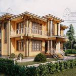 Двухэтажный дом из бруса в чашу 12,5 на 15,5 м «Зодчий» (1)
