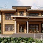 Двухэтажный дом из бруса в чашу 12,5 на 15,5 м «Зодчий» (12)
