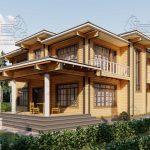 Двухэтажный дом из бруса в чашу 12,5 на 15,5 м «Зодчий» (2)