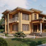 Двухэтажный дом из бруса в чашу 12,5 на 15,5 м «Зодчий» (3)