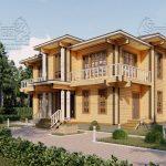 Двухэтажный дом из бруса в чашу 12,5 на 15,5 м «Зодчий» (4)